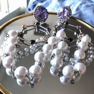 Purple faux crystal pearl statement earring 925